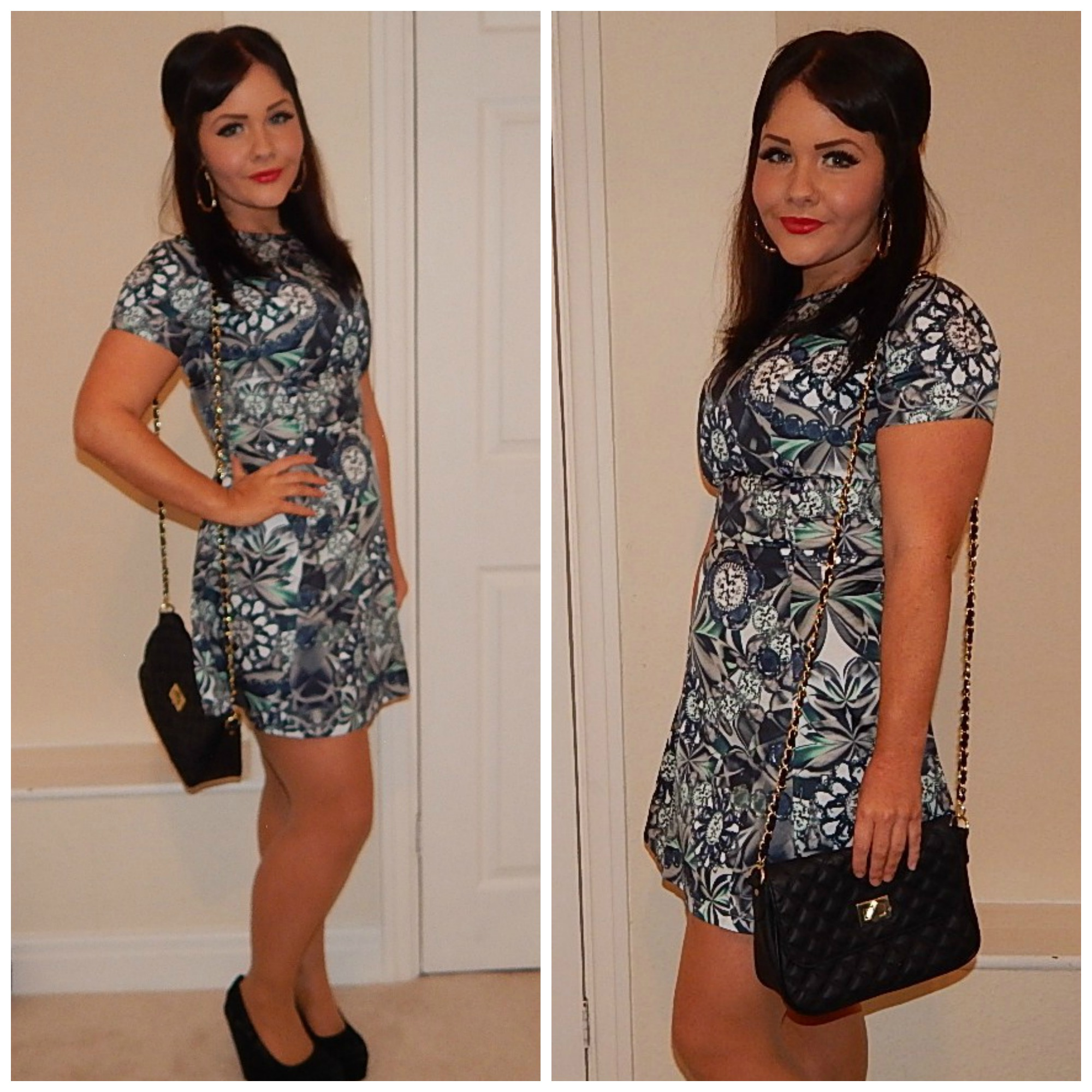 23c75f5e2ead Outfit of the Day  Missguided Jewel Print Skater Dress