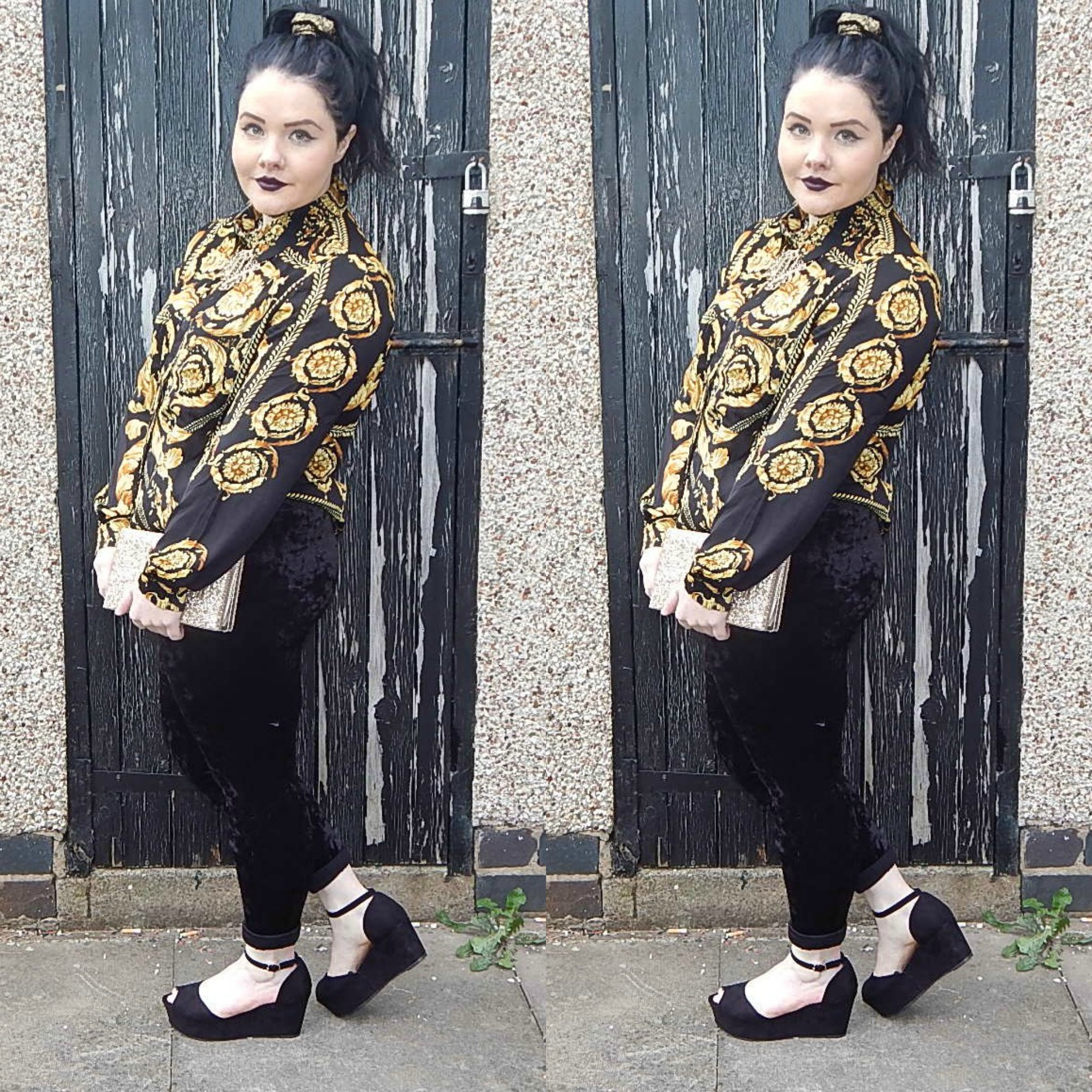 31aed619bd Outfit of the Day  Velvet Leggings and Baroque Shirt. Missguided