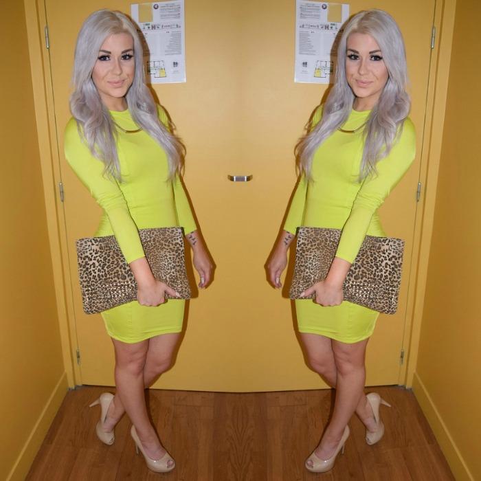 Fashion Blogger Neon Dress