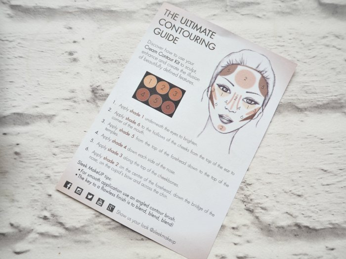 Sleek Cream Contour Kit Instructions