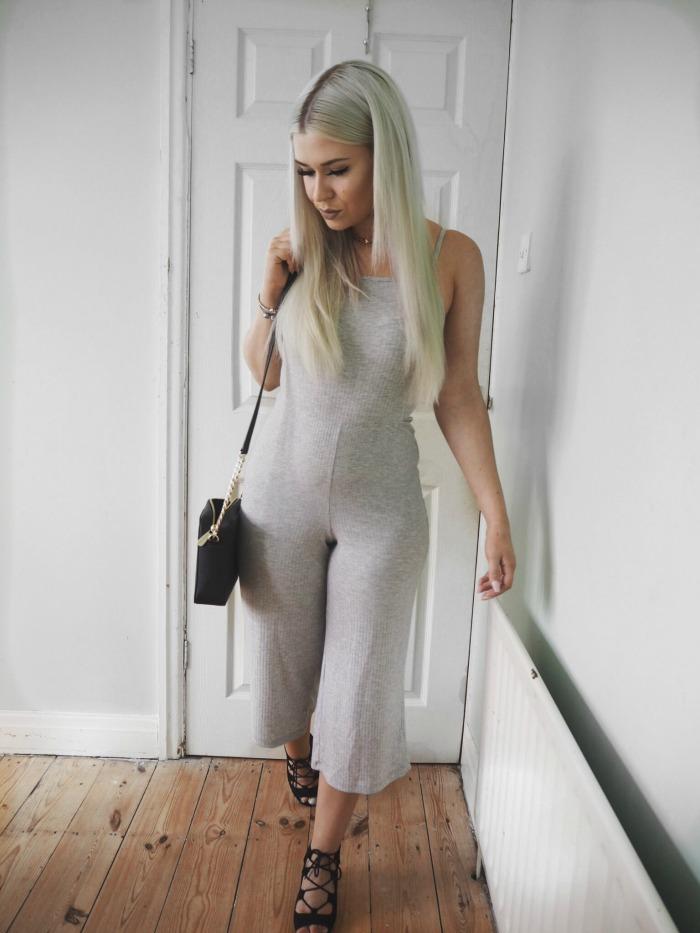Primark Grey Culotte Jumpsuit Blogger